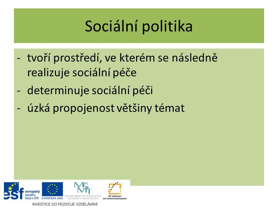 Sociální politika -tvoří prostředí, ve kterém se následně realizuje sociální péče -determinuje sociální péči -úzká propojenost většiny témat