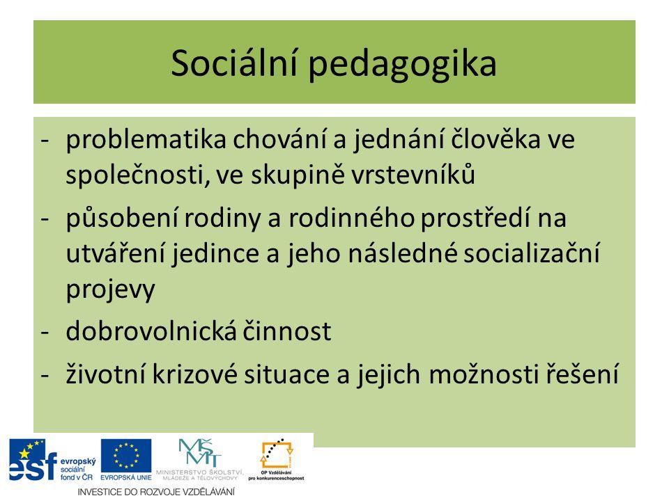 Sociální pedagogika -problematika chování a jednání člověka ve společnosti, ve skupině vrstevníků -působení rodiny a rodinného prostředí na utváření j