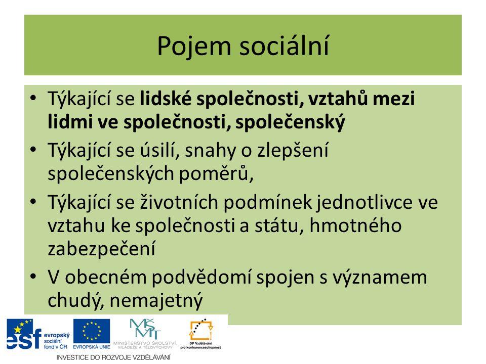 Pojem sociální Týkající se lidské společnosti, vztahů mezi lidmi ve společnosti, společenský Týkající se úsilí, snahy o zlepšení společenských poměrů,