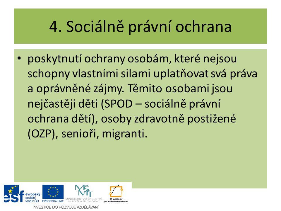 4. Sociálně právní ochrana poskytnutí ochrany osobám, které nejsou schopny vlastními silami uplatňovat svá práva a oprávněné zájmy. Těmito osobami jso