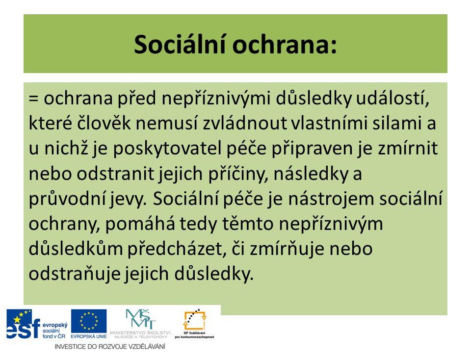 Sociální ochrana: = ochrana před nepříznivými důsledky událostí, které člověk nemusí zvládnout vlastními silami a u nichž je poskytovatel péče připrav