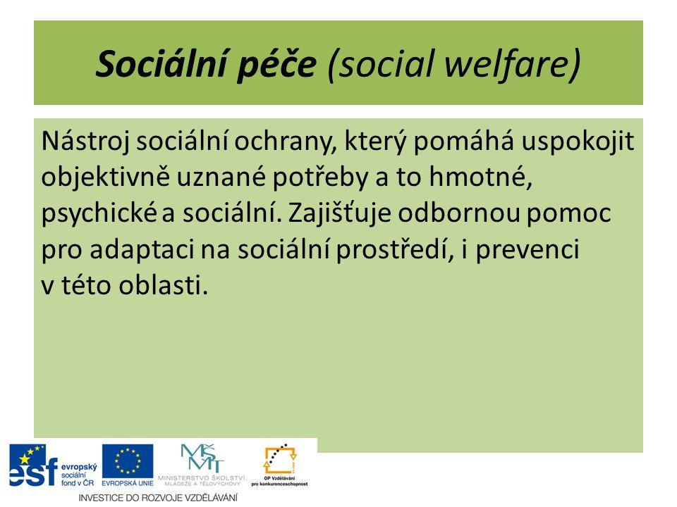 Sociální péče (social welfare) Nástroj sociální ochrany, který pomáhá uspokojit objektivně uznané potřeby a to hmotné, psychické a sociální. Zajišťuje