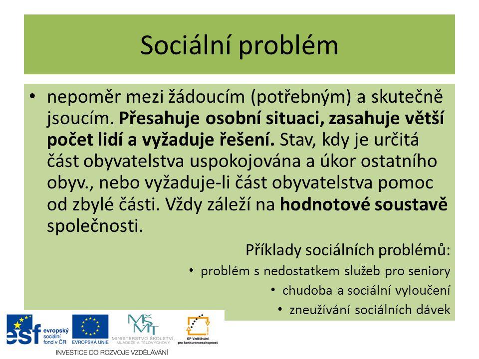 Sociální problém nepoměr mezi žádoucím (potřebným) a skutečně jsoucím. Přesahuje osobní situaci, zasahuje větší počet lidí a vyžaduje řešení. Stav, kd
