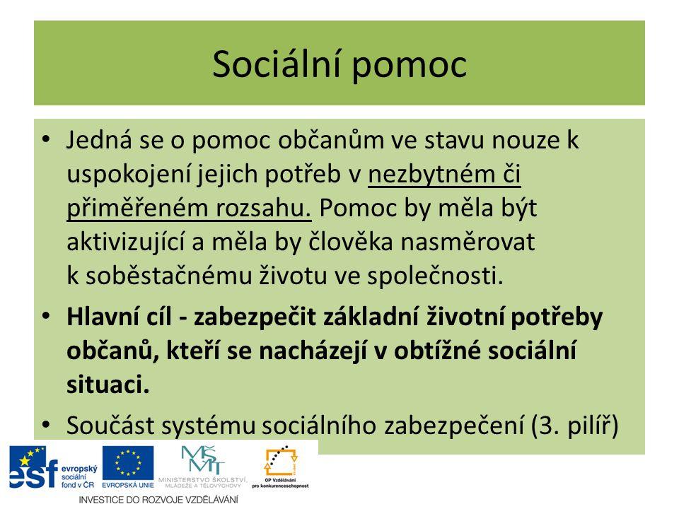 Sociální pomoc Jedná se o pomoc občanům ve stavu nouze k uspokojení jejich potřeb v nezbytném či přiměřeném rozsahu. Pomoc by měla být aktivizující a