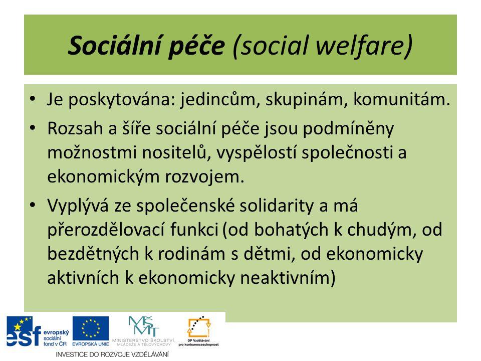 Sociální péče (social welfare) Je poskytována: jedincům, skupinám, komunitám. Rozsah a šíře sociální péče jsou podmíněny možnostmi nositelů, vyspělost