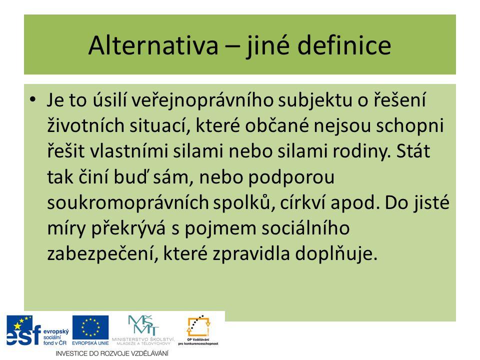 Alternativa – jiné definice Je to úsilí veřejnoprávního subjektu o řešení životních situací, které občané nejsou schopni řešit vlastními silami nebo s