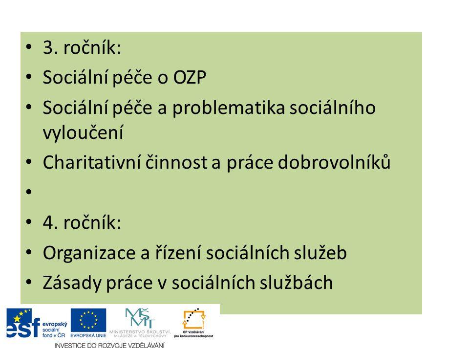 3. ročník: Sociální péče o OZP Sociální péče a problematika sociálního vyloučení Charitativní činnost a práce dobrovolníků 4. ročník: Organizace a říz