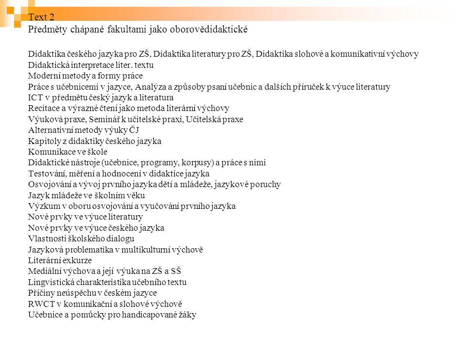 Text 2 Předměty chápané fakultami jako oborovědidaktické Didaktika českého jazyka pro ZŠ, Didaktika literatury pro ZŠ, Didaktika slohové a komunikativní výchovy Didaktická interpretace liter.