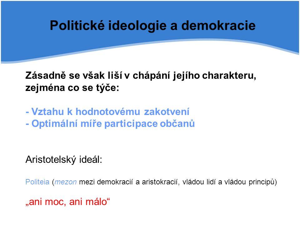 """Zásadně se však liší v chápání jejího charakteru, zejména co se týče: - Vztahu k hodnotovému zakotvení - Optimální míře participace občanů Aristotelský ideál: Politeia (mezon mezi demokracií a aristokracií, vládou lidí a vládou principů) """"ani moc, ani málo Politické ideologie a demokracie"""
