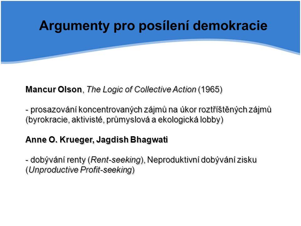 Argumenty pro posílení demokracie Mancur Olson, The Logic of Collective Action (1965) - prosazování koncentrovaných zájmů na úkor roztříštěných zájmů