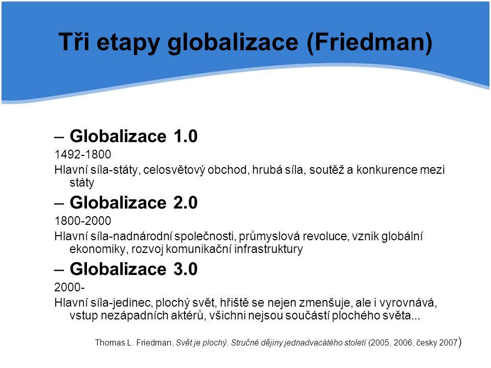 Tři etapy globalizace (Friedman) –Globalizace 1.0 1492-1800 Hlavní síla-státy, celosvětový obchod, hrubá síla, soutěž a konkurence mezi státy –Globalizace 2.0 1800-2000 Hlavní síla-nadnárodní společnosti, průmyslová revoluce, vznik globální ekonomiky, rozvoj komunikační infrastruktury –Globalizace 3.0 2000- Hlavní síla-jedinec, plochý svět, hřiště se nejen zmenšuje, ale i vyrovnává, vstup nezápadních aktérů, všichni nejsou součástí plochého světa...