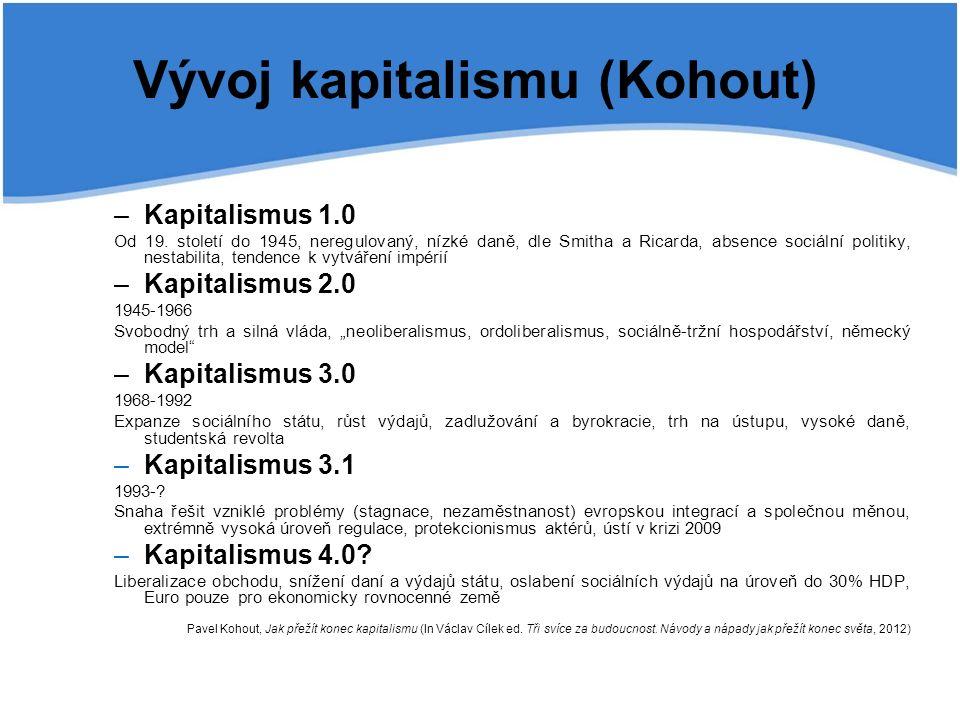 Vývoj kapitalismu (Kohout) –Kapitalismus 1.0 Od 19. století do 1945, neregulovaný, nízké daně, dle Smitha a Ricarda, absence sociální politiky, nestab