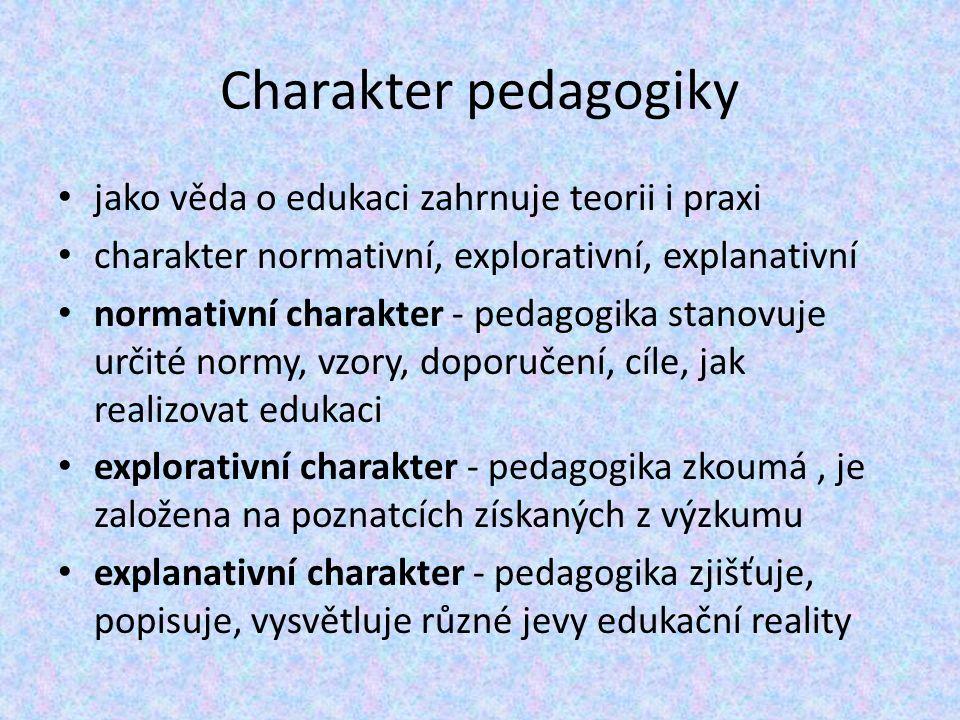 Charakter pedagogiky jako věda o edukaci zahrnuje teorii i praxi charakter normativní, explorativní, explanativní normativní charakter - pedagogika stanovuje určité normy, vzory, doporučení, cíle, jak realizovat edukaci explorativní charakter - pedagogika zkoumá, je založena na poznatcích získaných z výzkumu explanativní charakter - pedagogika zjišťuje, popisuje, vysvětluje různé jevy edukační reality
