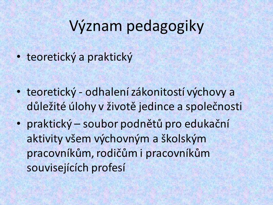 Význam pedagogiky teoretický a praktický teoretický - odhalení zákonitostí výchovy a důležité úlohy v životě jedince a společnosti praktický – soubor podnětů pro edukační aktivity všem výchovným a školským pracovníkům, rodičům i pracovníkům souvisejících profesí