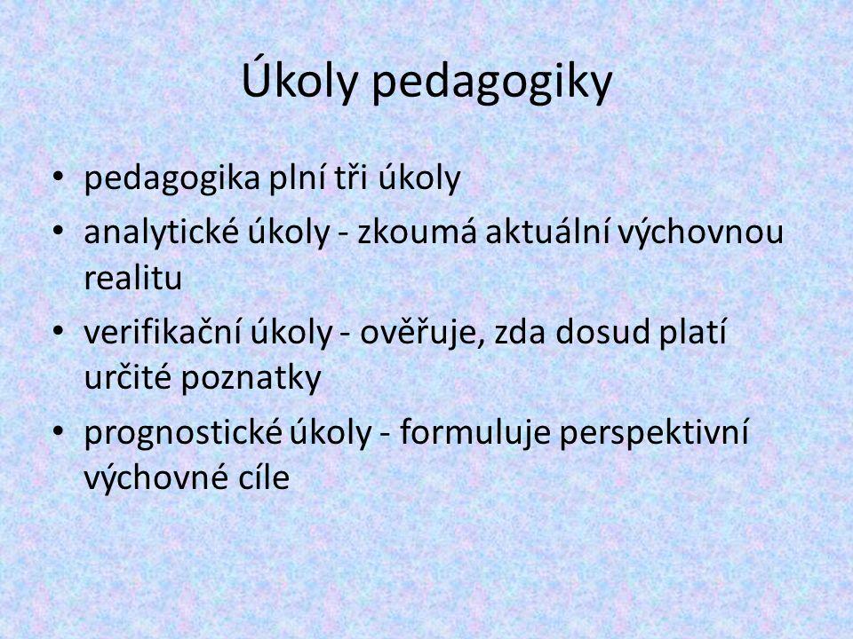 Obsahová náplň pedagogiky je nutné rozdělení na specializované disciplíny podle obsahu zkoumání (např.