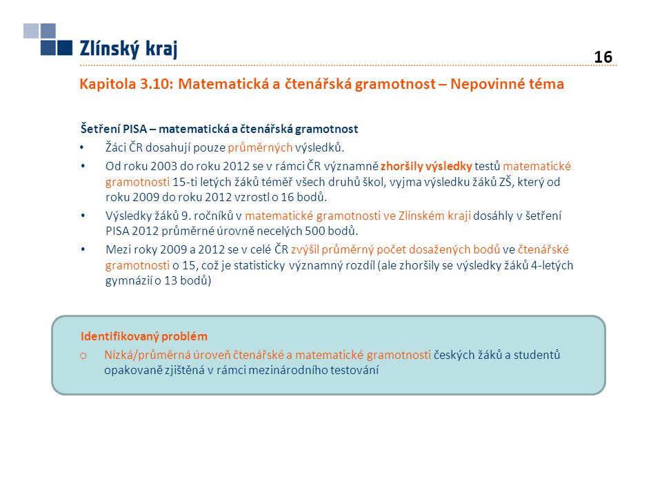 Kapitola 3.10: Matematická a čtenářská gramotnost – Nepovinné téma Šetření PISA – matematická a čtenářská gramotnost Žáci ČR dosahují pouze průměrných výsledků.