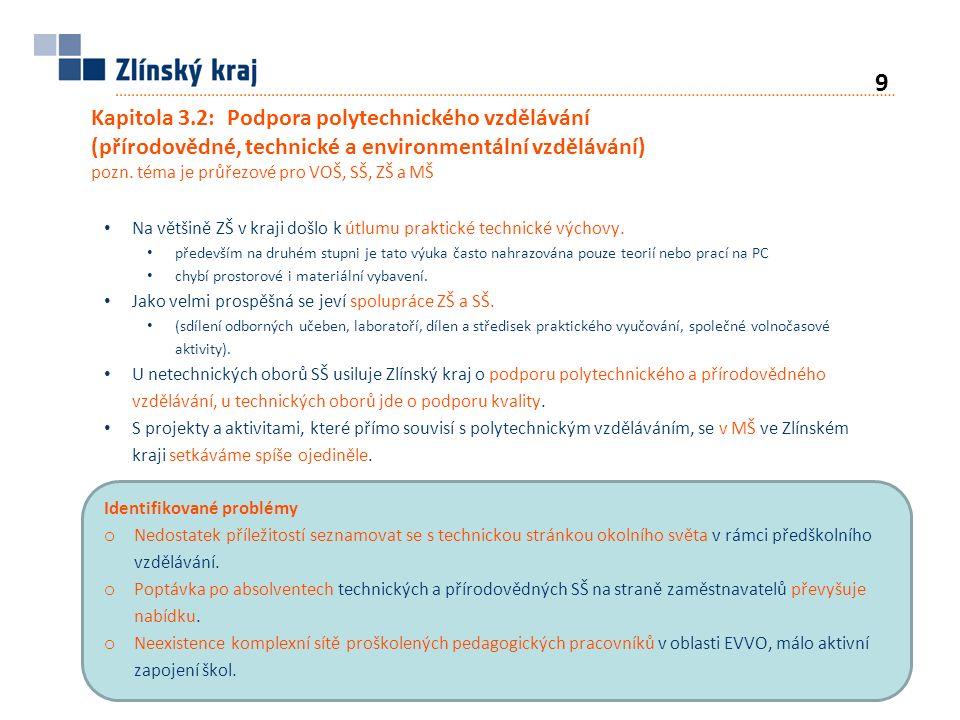 Kapitola 3.2: Podpora polytechnického vzdělávání (přírodovědné, technické a environmentální vzdělávání) pozn.