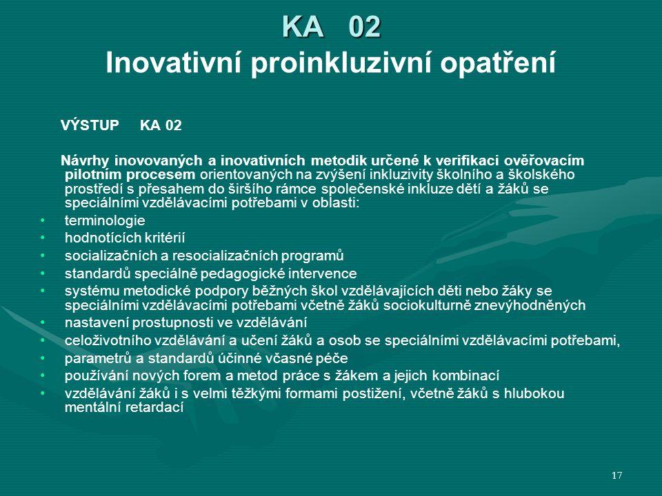 KA 02 KA 02 Inovativní proinkluzivní opatření VÝSTUP KA 02 Návrhy inovovaných a inovativních metodik určené k verifikaci ověřovacím pilotním procesem orientovaných na zvýšení inkluzivity školního a školského prostředí s přesahem do širšího rámce společenské inkluze dětí a žáků se speciálními vzdělávacími potřebami v oblasti: terminologie hodnotících kritérií socializačních a resocializačních programů standardů speciálně pedagogické intervence systému metodické podpory běžných škol vzdělávajících děti nebo žáky se speciálními vzdělávacími potřebami včetně žáků sociokulturně znevýhodněných nastavení prostupnosti ve vzdělávání celoživotního vzdělávání a učení žáků a osob se speciálními vzdělávacími potřebami, parametrů a standardů účinné včasné péče používání nových forem a metod práce s žákem a jejich kombinací vzdělávání žáků i s velmi těžkými formami postižení, včetně žáků s hlubokou mentální retardací 17