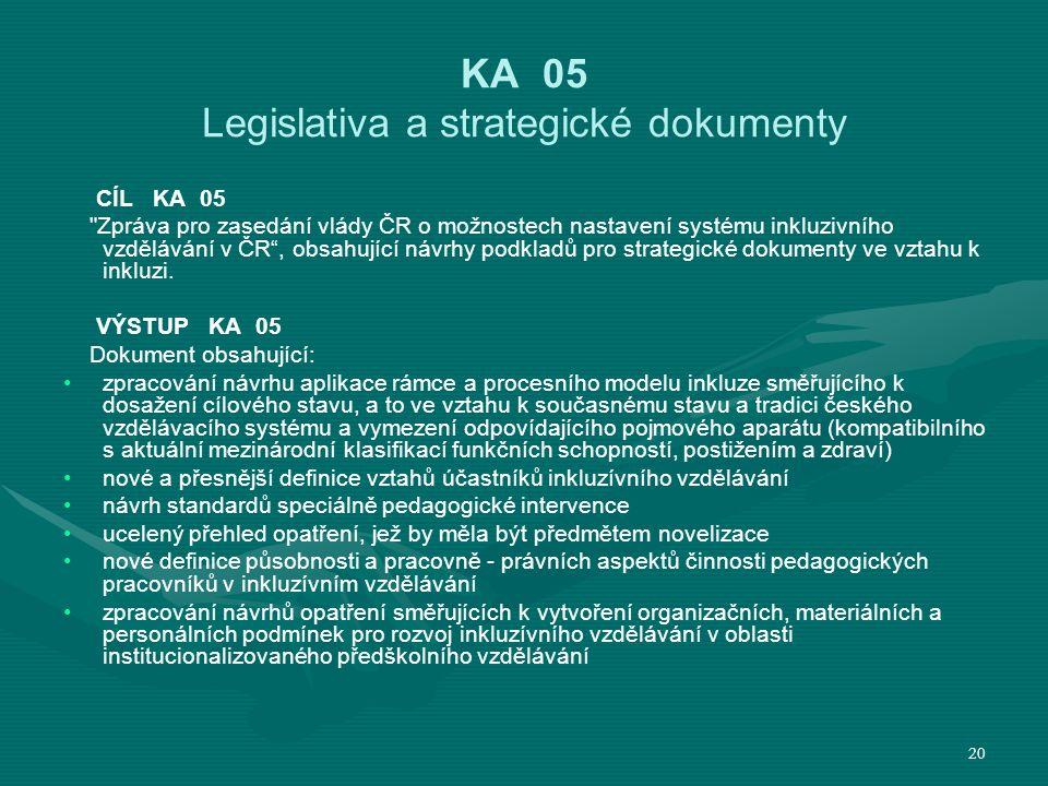 KA 05 Legislativa a strategické dokumenty CÍL KA 05 Zpráva pro zasedání vlády ČR o možnostech nastavení systému inkluzivního vzdělávání v ČR , obsahující návrhy podkladů pro strategické dokumenty ve vztahu k inkluzi.