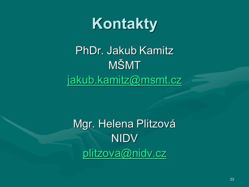 Kontakty PhDr. Jakub Kamitz MŠMT jakub.kamitz@msmt.cz Mgr. Helena Plitzová NIDV plitzova@nidv.cz 23