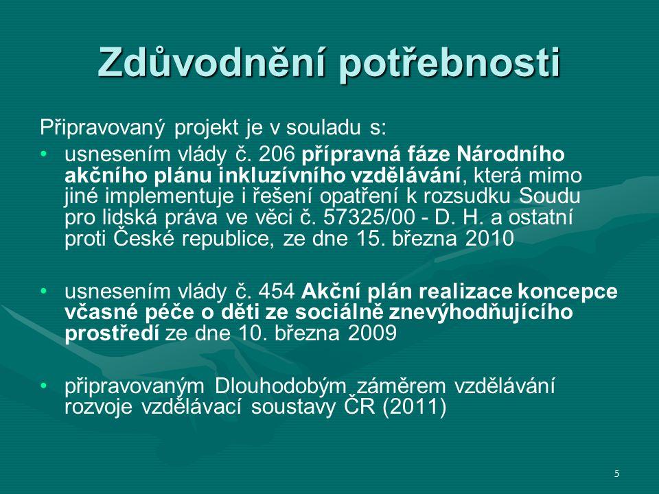 Zdůvodnění potřebnosti Připravovaný projekt je v souladu s: usnesením vlády č.