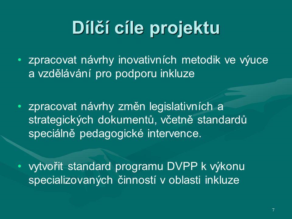 Dílčí cíle projektu zpracovat návrhy inovativních metodik ve výuce a vzdělávání pro podporu inkluze zpracovat návrhy změn legislativních a strategických dokumentů, včetně standardů speciálně pedagogické intervence.