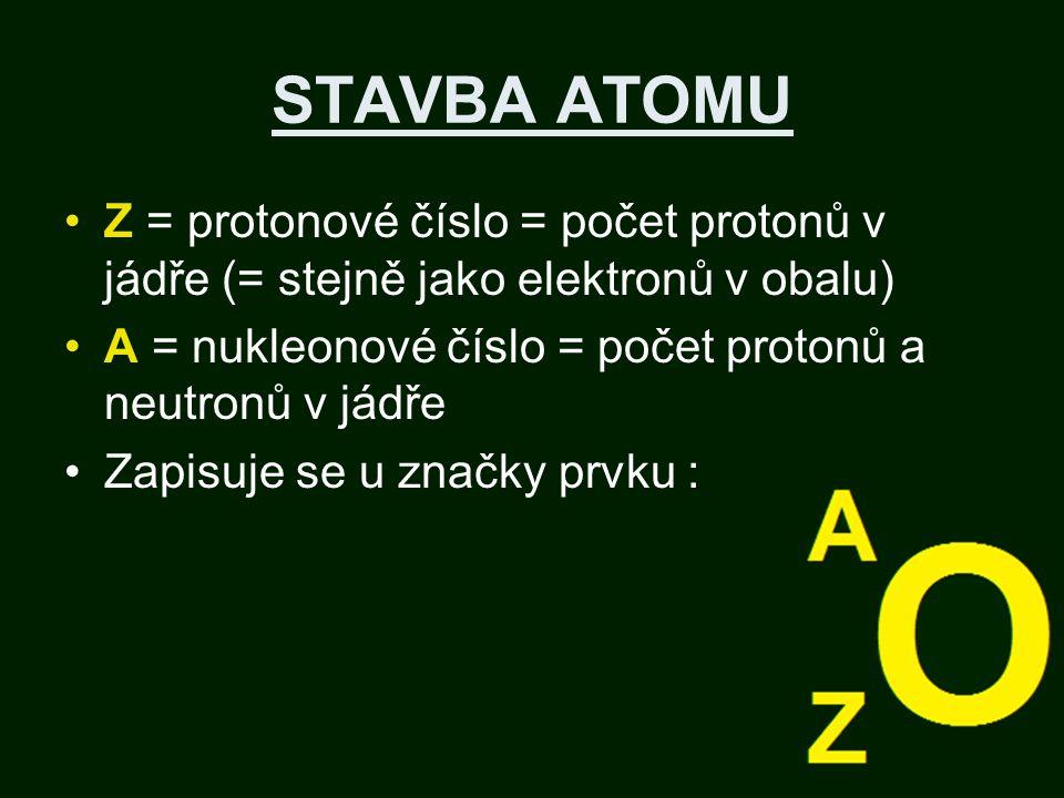 STAVBA ATOMU Z = protonové číslo = počet protonů v jádře (= stejně jako elektronů v obalu) A = nukleonové číslo = počet protonů a neutronů v jádře Zapisuje se u značky prvku :