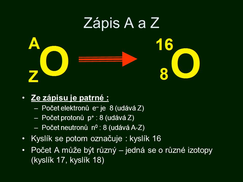 Zápis A a Z Ze zápisu je patrné : –Počet elektronů e – je 8 (udává Z) –Počet protonů p + : 8 (udává Z) –Počet neutronů n 0 : 8 (udává A-Z) Kyslík se potom označuje : kyslík 16 Počet A může být různý – jedná se o různé izotopy (kyslík 17, kyslík 18)