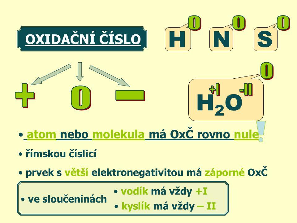atom nebo molekula má OxČ rovno nule prvek s větší elektronegativitou má záporné OxČ H H2OH2O OXIDAČNÍ ČÍSLO vodík má vždy +I kyslík má vždy – II ve sloučeninách NS římskou číslicí