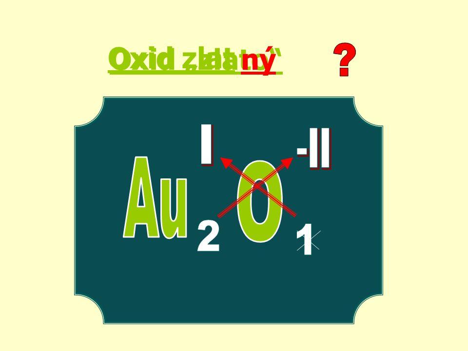 PtO2 P2O3 SeO3 Li2O CO oxid selenový oxid platičitý oxid fosforitý oxid zlatitý oxid lithný oxid uhelnatý oxid chlorečný Cl 2 O 5 RuO 4 oxid rutheničelý Au2O3
