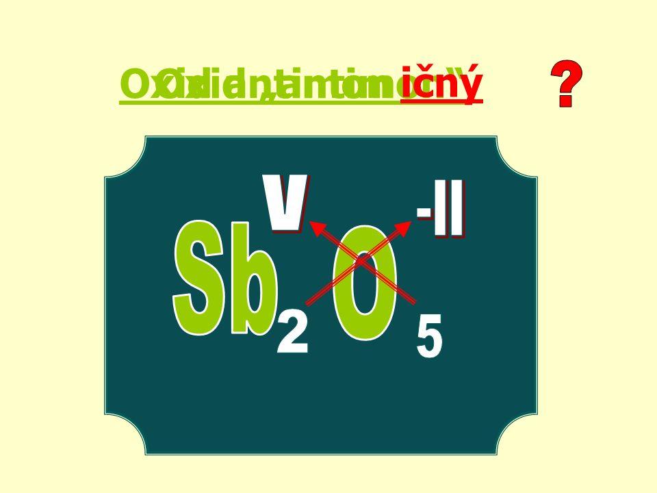 SnO2 I2O5 As2O3 CrO3 Au2O MnO oxid chromový oxid ciničitý oxid jodičný oxid zlatný oxid manganatý Mn 2 O 7 oxid manganistý UO 3 oxid uranový