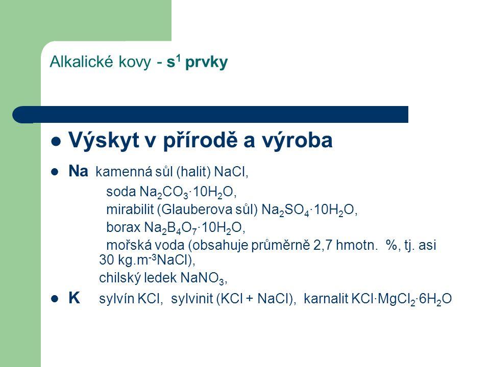Alkalické kovy - s 1 prvky Výskyt v přírodě a výroba Na kamenná sůl (halit) NaCl, soda Na 2 CO 3 ∙10H 2 O, mirabilit (Glauberova sůl) Na 2 SO 4 ∙10H 2