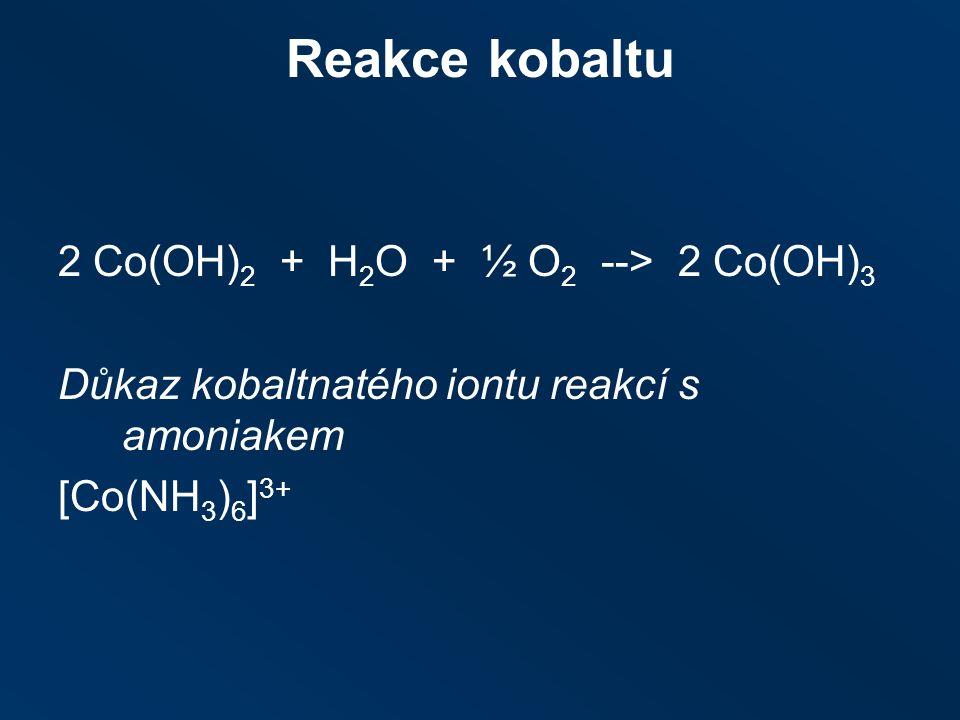 Reakce kobaltu 2 Co(OH) 2 + H 2 O + ½ O 2 ‑‑ > 2 Co(OH) 3 Důkaz kobaltnatého iontu reakcí s amoniakem [Co(NH 3 ) 6 ] 3+