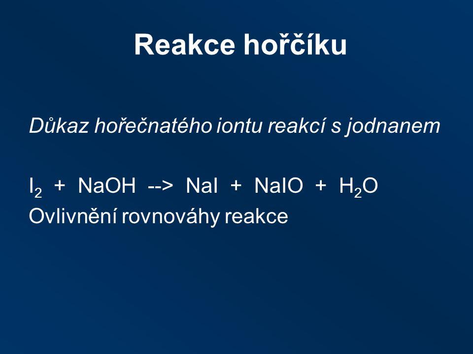 Reakce hořčíku Důkaz hořečnatého iontu reakcí s jodnanem I 2 + NaOH ‑‑ > NaI + NaIO + H 2 O Ovlivnění rovnováhy reakce