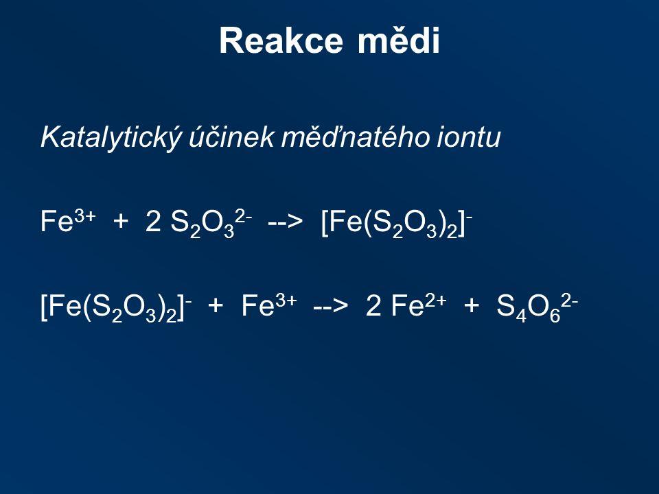Reakce mědi Katalytický účinek měďnatého iontu Fe 3+ + 2 S 2 O 3 2- ‑‑ > [Fe(S 2 O 3 ) 2 ] - [Fe(S 2 O 3 ) 2 ] - + Fe 3+ ‑‑ > 2 Fe 2+ + S 4 O 6 2-