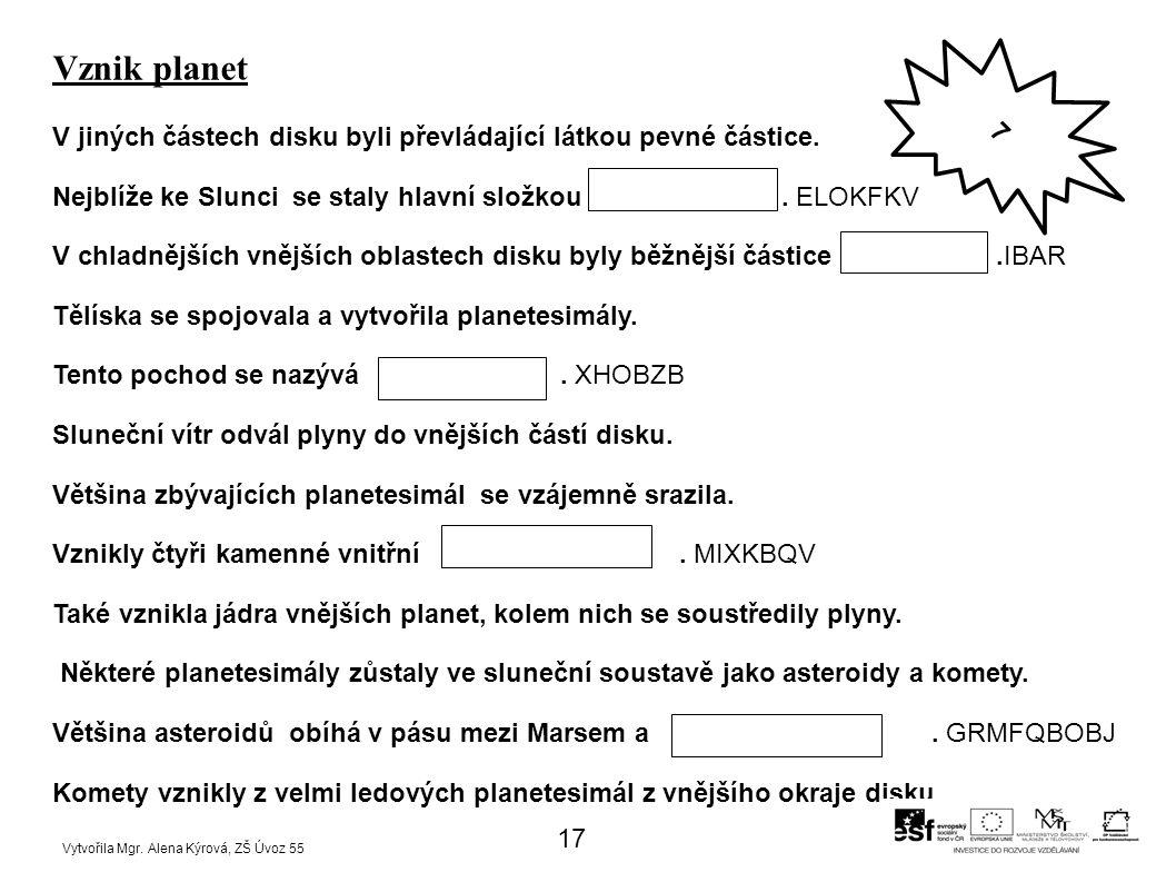 Vznik planet V jiných částech disku byli převládající látkou pevné částice.