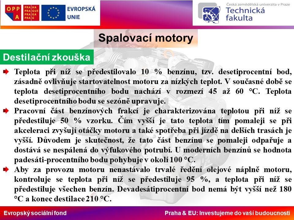 Evropský sociální fond Praha & EU: Investujeme do vaší budoucnosti Spalovací motory Destilační zkouška Teplota při níž se předestilovalo 10 % benzínu, tzv.