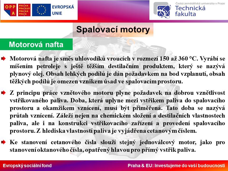 Evropský sociální fond Praha & EU: Investujeme do vaší budoucnosti Spalovací motory Motorová nafta Motorová nafta je směs uhlovodíků vroucích v rozmezí 150 až 360 °C.