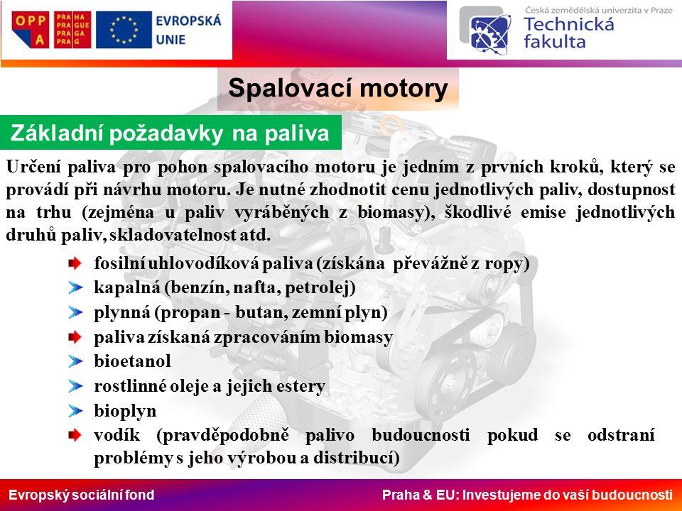 Evropský sociální fond Praha & EU: Investujeme do vaší budoucnosti Spalovací motory Základní požadavky na paliva Určení paliva pro pohon spalovacího motoru je jedním z prvních kroků, který se provádí při návrhu motoru.