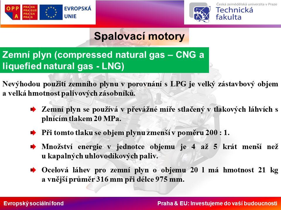 Evropský sociální fond Praha & EU: Investujeme do vaší budoucnosti Spalovací motory Zemní plyn (compressed natural gas – CNG a liquefied natural gas - LNG) Nevýhodou použití zemního plynu v porovnání s LPG je velký zástavbový objem a velká hmotnost palivových zásobníků.
