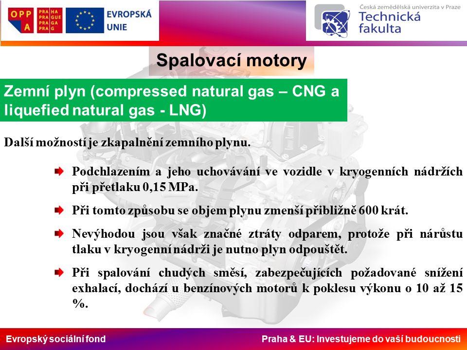 Evropský sociální fond Praha & EU: Investujeme do vaší budoucnosti Spalovací motory Zemní plyn (compressed natural gas – CNG a liquefied natural gas - LNG) Další možností je zkapalnění zemního plynu.