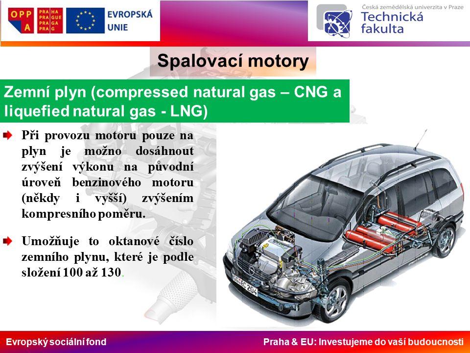 Evropský sociální fond Praha & EU: Investujeme do vaší budoucnosti Spalovací motory Zemní plyn (compressed natural gas – CNG a liquefied natural gas - LNG) Při provozu motoru pouze na plyn je možno dosáhnout zvýšení výkonu na původní úroveň benzinového motoru (někdy i vyšší) zvýšením kompresního poměru.