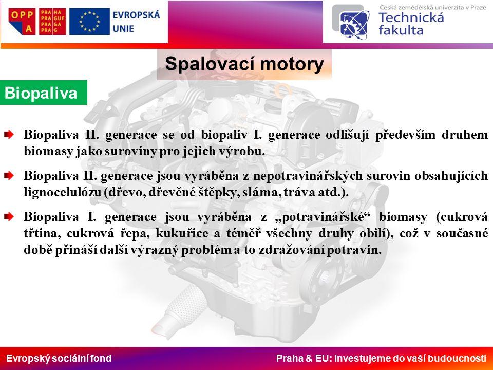 Evropský sociální fond Praha & EU: Investujeme do vaší budoucnosti Spalovací motory Biopaliva Biopaliva II.