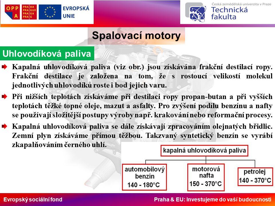 Evropský sociální fond Praha & EU: Investujeme do vaší budoucnosti Spalovací motory Uhlovodíková paliva Kapalná uhlovodíková paliva (viz obr.) jsou získávána frakční destilací ropy.