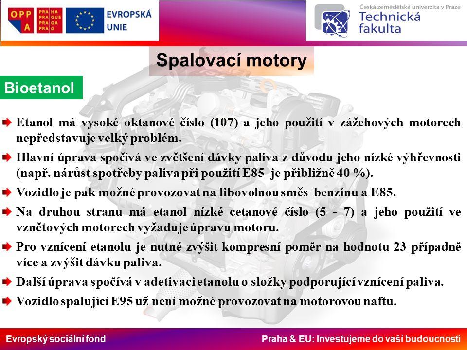 Evropský sociální fond Praha & EU: Investujeme do vaší budoucnosti Spalovací motory Bioetanol Etanol má vysoké oktanové číslo (107) a jeho použití v zážehových motorech nepředstavuje velký problém.
