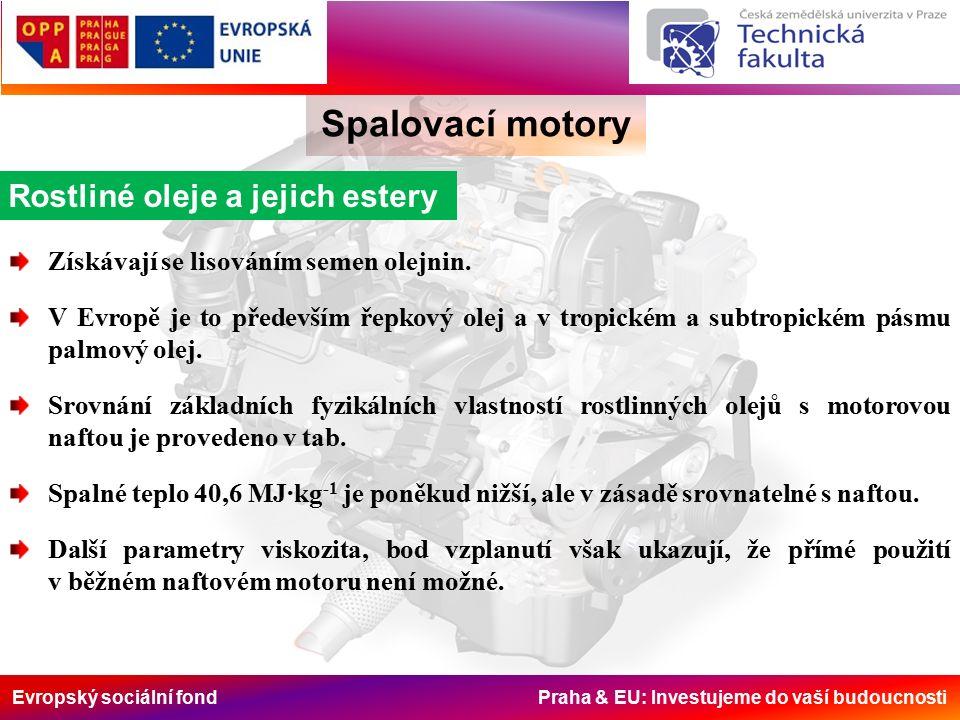 Evropský sociální fond Praha & EU: Investujeme do vaší budoucnosti Spalovací motory Rostliné oleje a jejich estery Získávají se lisováním semen olejnin.