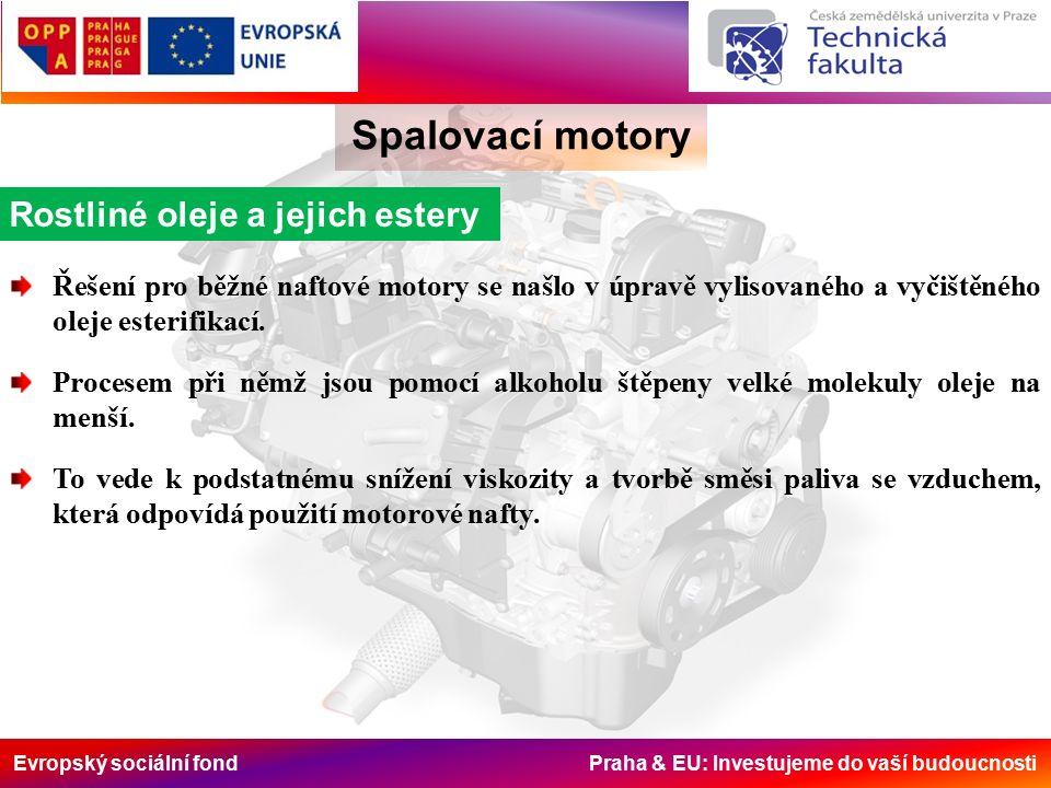 Evropský sociální fond Praha & EU: Investujeme do vaší budoucnosti Spalovací motory Rostliné oleje a jejich estery Řešení pro běžné naftové motory se našlo v úpravě vylisovaného a vyčištěného oleje esterifikací.