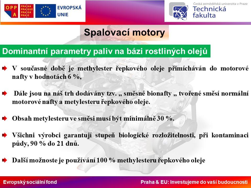 Evropský sociální fond Praha & EU: Investujeme do vaší budoucnosti Spalovací motory Dominantní parametry paliv na bázi rostliných olejů V současné době je methylester řepkového oleje přimícháván do motorové nafty v hodnotách 6 %, Dále jsou na náš trh dodávány tzv.