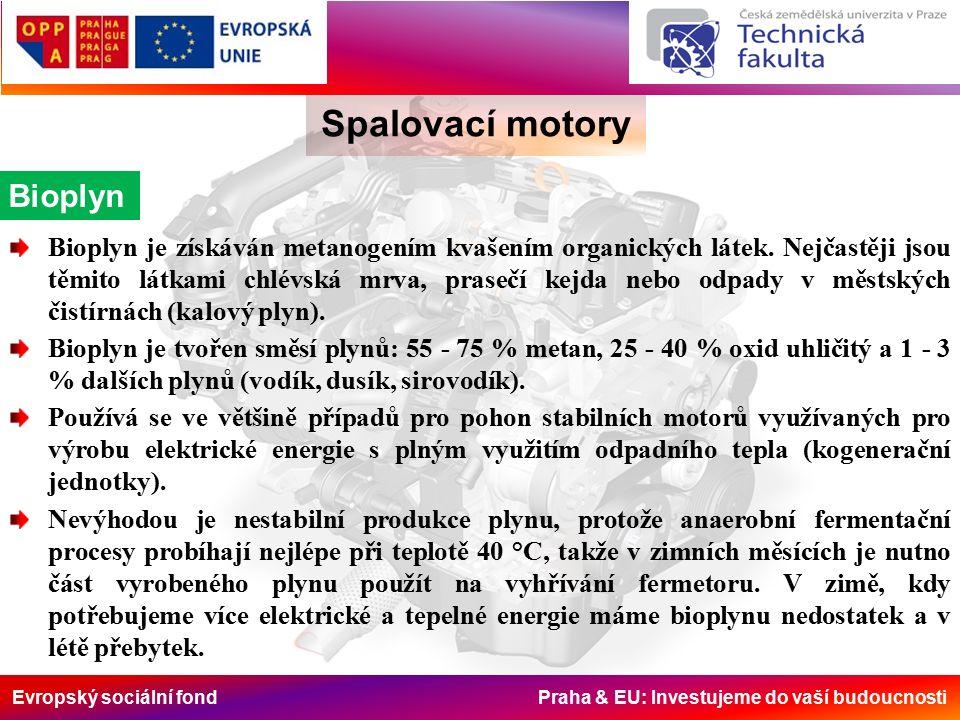 Evropský sociální fond Praha & EU: Investujeme do vaší budoucnosti Spalovací motory Bioplyn Bioplyn je získáván metanogením kvašením organických látek.