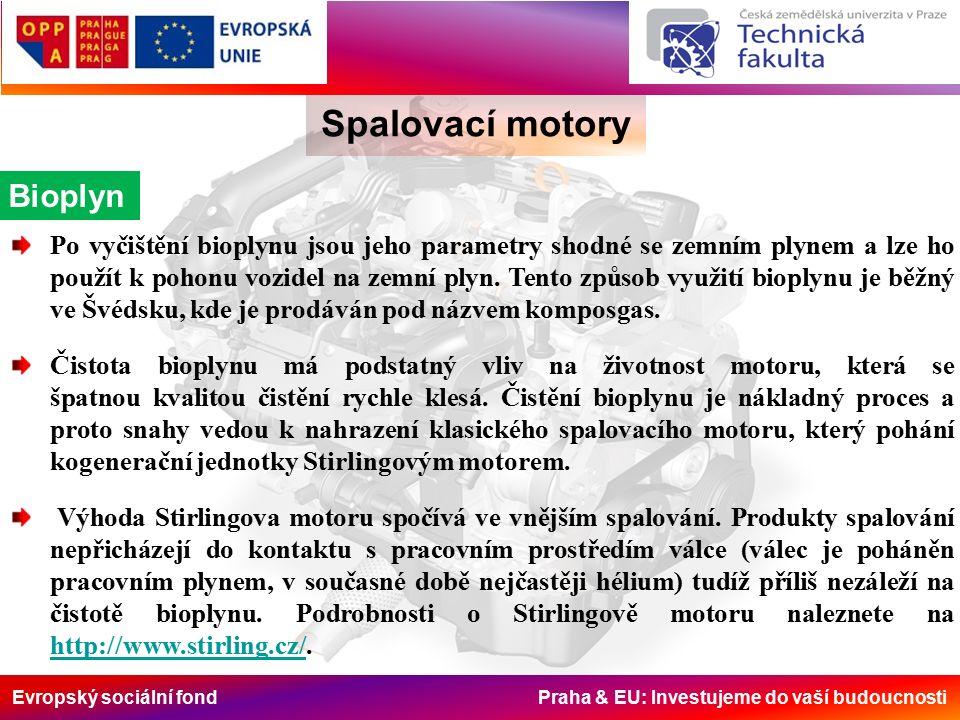 Evropský sociální fond Praha & EU: Investujeme do vaší budoucnosti Spalovací motory Bioplyn Po vyčištění bioplynu jsou jeho parametry shodné se zemním plynem a lze ho použít k pohonu vozidel na zemní plyn.
